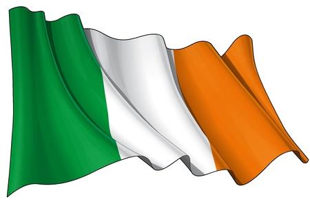 irland�s: Agitando bandera irlandesa - EPS v 10 archivos y un 6800 x 4500 pxl con saturaci�n camino Previa JPG - Transparencia se utiliza en las capas de sombreado Vectores