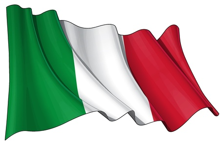 Waving Italian flag - EPS v 10 File and a 6800 x 4500 pxl with clipping path Preview JPG - Transparency is used on the shading layers