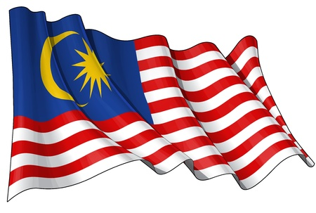 malaysia: Waving Malaysian flag - EPS v 10 File and a 6800 x 4500 pxl with clipping path Preview JPG - Transparency is used on the shading layers Illustration