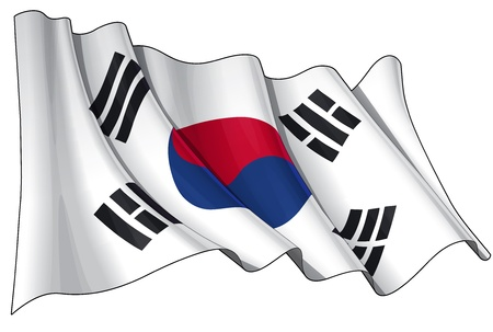 south korean won: Waving  flag  EPS v 10 File and a 6800 x 4500 pxl with clipping path Preview JPG - Transparency is used on the shading layers Illustration