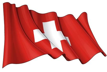 alpes suizos: Agitando bandera EPS v 10 y un archivo pxl 6800 x 4500 con el recorte preliminar ruta JPG - La transparencia se utiliza en las capas de sombreado