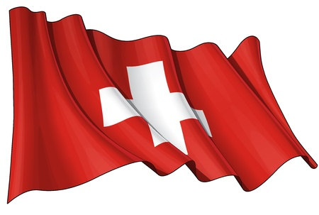 swiss flag: Waving  flag  EPS v 10 File and a 6800 x 4500 pxl with clipping path Preview JPG - Transparency is used on the shading layers Illustration