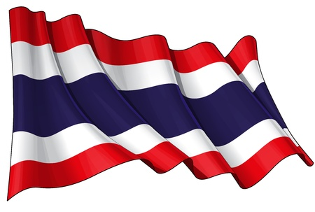 Waving  flag  EPS v 10 File and a 6800 x 4500 pxl with clipping path Preview JPG - Transparency is used on the shading layers Illustration