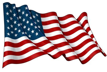 flag: Golvende vlag EPS v 10 File en een 6800 x 4500 pxl met clipping path Voorbeeld JPG - Transparantie wordt gebruikt op de schaduw lagen Stock Illustratie