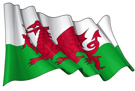 welsh: Waving  flag  EPS v 10 File and a 6800 x 4500 pxl with clipping path Preview JPG - Transparency is used on the shading layers Illustration
