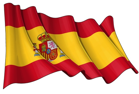 Waving Spanish Flag, 6800 x 4500 pxl with clipping path top quality jpg Stock Photo