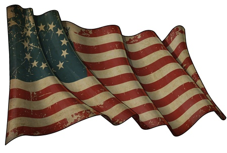 us flag grunge: USA Betsy Ross Historic flag
