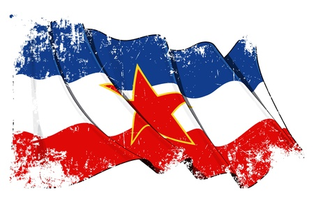 serbia flag: Yugoslavian flag Grunge Stock Photo