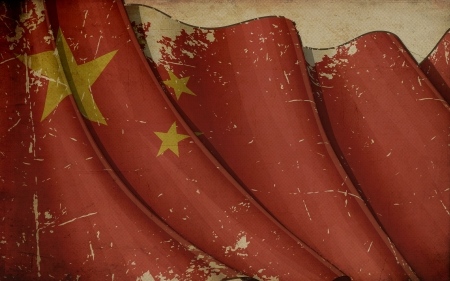 shanghai: China Flag Old Paper Stock Photo