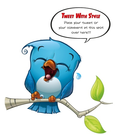 cartoon words: Tweeter Blue Bird Laughing