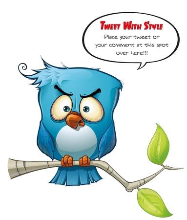 Tweeter Blue Bird Wrathful Stock Photo