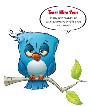 bored face: Tweeter Blue Bird sleepy