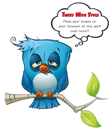 tired cartoon: Tweeter Blue Bird Hangover