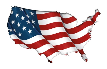 US Flag-Map Inner Shadow Stock Photo