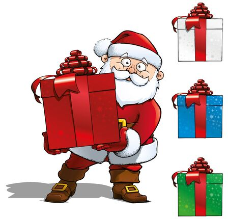 Santa Holding a Red Gift &amp, 3 Gift Icons. All colors of the gift in hand  Stock Photo - 16568267
