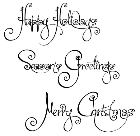 Three Christmas Time Handwriting Wishes Vector