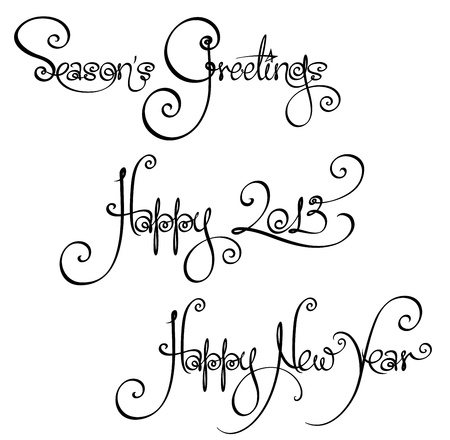 Three Christmas Time and New Year Handwriting Wishes Stock Vector - 16691172