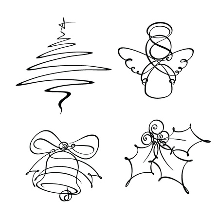 Four Christmas Single Line Icons Vector