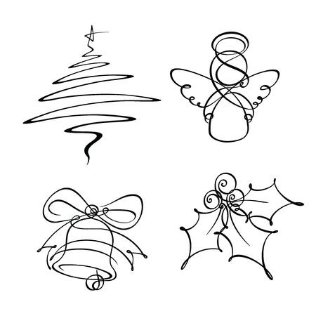 lijntekening: Vier Kerst Single Line Pictogrammen Stock Illustratie