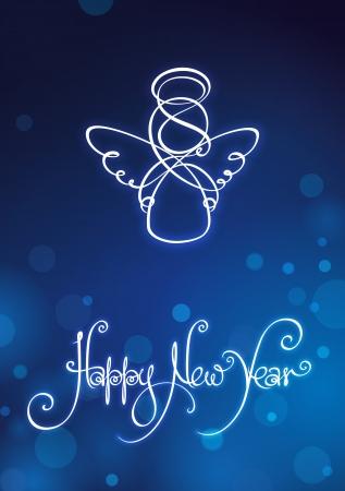 Happy New Year Card EPS v10 Datei hat rot, blau und grün-Versionen in getrennten Schichten