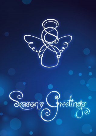 Seasons Greetings - Angel Card  EPS v10 file has red, blue and green versions in separate layers