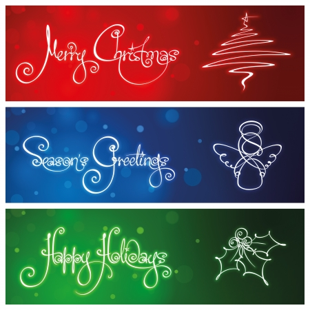 happy holiday: Three Christmas Banners Illustration