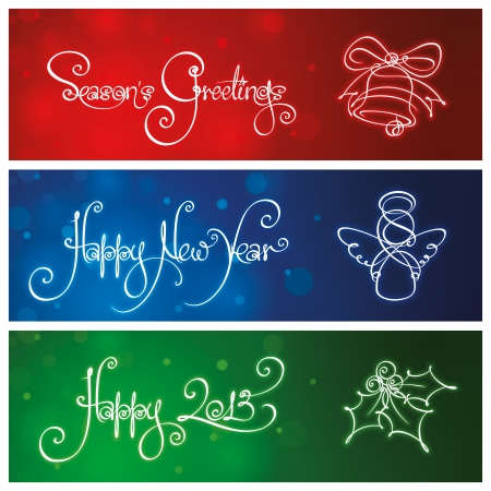 Three New Year   Christmas Banners Vector