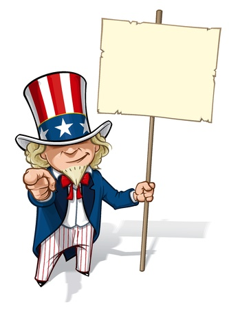 president of the usa: Uncle Sam  I Want You  Placard Illustration