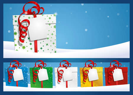 Winter Background - Gift with Label Stock Vector - 16951069
