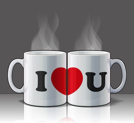 I Love You Mugs Vector