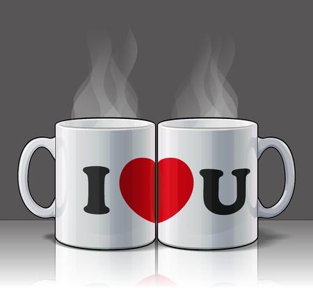 hot couple: I Love You Mugs Illustration
