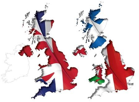 england flag: UK Flag-Map Inner Shadow Stock Photo