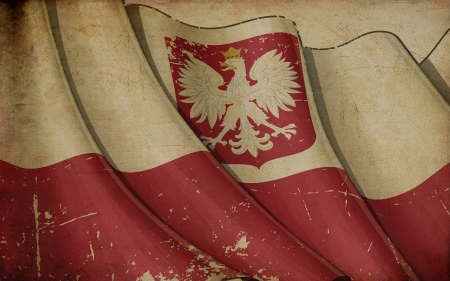 polish flag: Polish State Flag (with the eagle crest) Old Paper Stock Photo