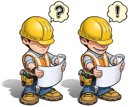 マニュアル: 建設労働者 - 読書計画  イラスト・ベクター素材