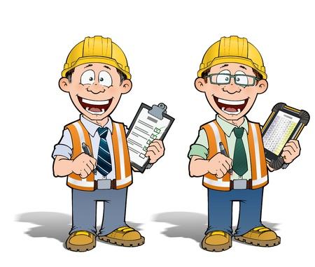 arquitecto caricatura: Trabajador de construcción - Gerente de Proyectos Foto de archivo