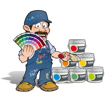 便利屋 - ピッキング画家は色 - 青 写真素材
