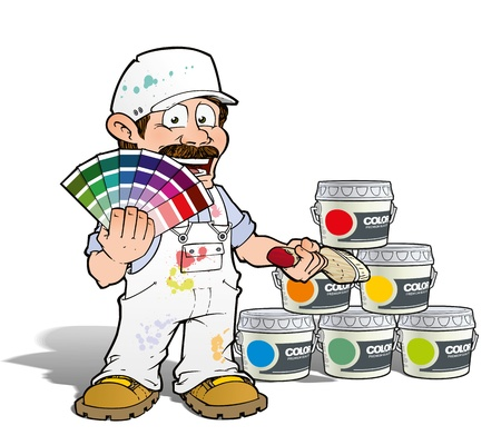 painter and decorator: Handyman - Colour Picking Painter - White Stock Photo