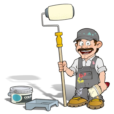 handy men: Handyman - Paint Roll Painter Gray Stock Photo