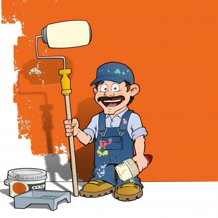 paint bucket: Handyman - Wall Painter Blue Stock Photo
