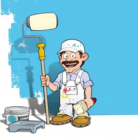 Handyman - Wall Painter White Stockfoto