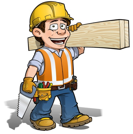 construction worker cartoon: Constraction Worker -- Carpenter