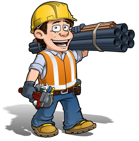 plumber with tools: Trabajador de construcci�n - Plumber