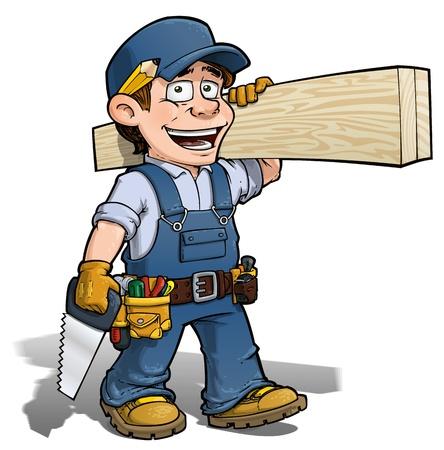 handymen: Handyman - Carpenter Blue Stock Photo