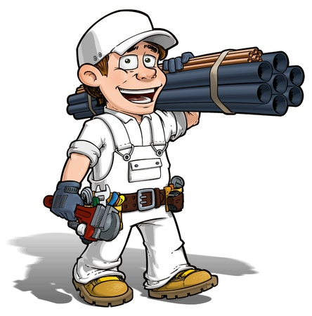 pipe wrench: Cartoon illustration of a handyman - plumber carrying pipes and a wrench  Stock Photo