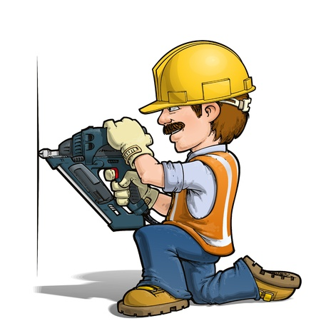 craftsmen repair: Construction Workers - Nailling Illustration