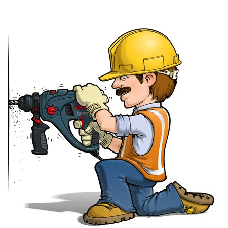 mending: Construction Workers - Nailling Illustration