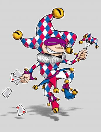 Cartoon illustration of a dancing jester in blue, red and white diamond illustration
