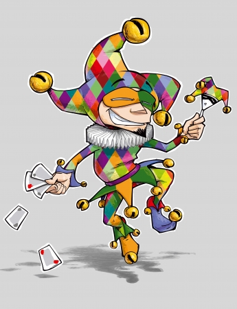 Cartoon illustration of a dancing jester in colourful diamonds illustration