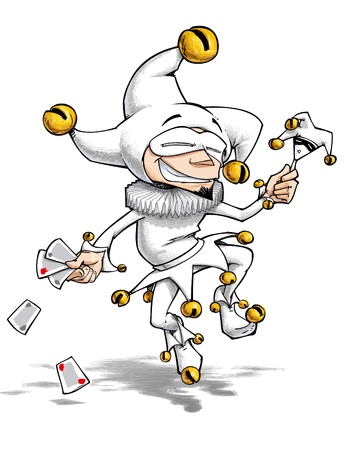 piper: Cartoon illustration of a dancing jester in blank, you may colour it by adding a multiply layer  Stock Photo