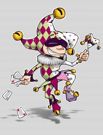 poi: Cartoon Illustration of a diamonds   poi Jester